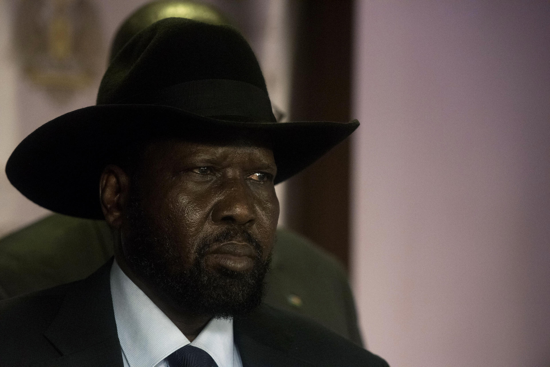 Le président du Soudan du Sud, Salva Kiir, lors d'une conférence de presse le 8 juillet, à Juba.