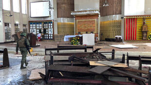 Bên trong nhà thờ Công giáo sau vụ đánh bom khủng bố tại Jolo, tỉnh Sulu, Philippines, ngày 27/01/2019.
