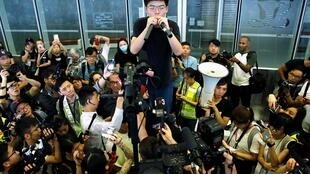 Joshua Wong katika maandamano Juni 17, 2019, Hong Kong.
