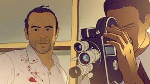 Late Polish reporter Riczard Kapuscinski and Angolan camera-reporter Luis Alberto Ferreira animated in 'Another Day of Life', docu-drama using motion capture animation by Raul de la Fuente and Damian Nenow (2018)