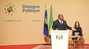 Le président gabonais Ali Bongo lors d'un discours, le 28 mars 2017 à Libreville.
