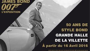 Poster of 'James Bond 007, the Exhibition'. 50 years of Bond style in Paris' La Villette.