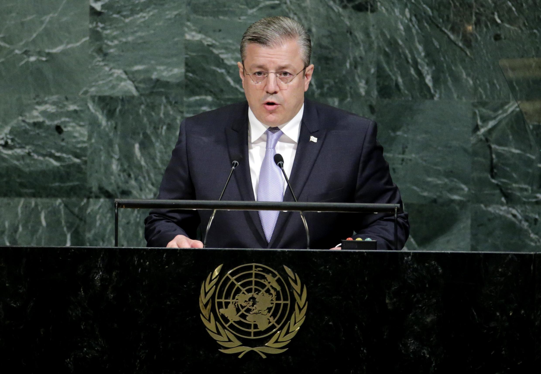 Премьер-министр Грузии Георгий Квирикашвили на трибуне Генеральной Ассамблеи ООН 21 сентября 2017
