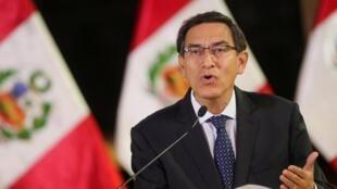 O presidente peruano, Martín Vizcarra, durante pronunciamento à nação, em 30 de setembro de 2019.