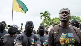 Spokesperson of the 500 brothers collective (500 freres) Mikael Mancee joins protesters in front of the Prefecture on April 7, 2017, in Cayenne, French Guiana.