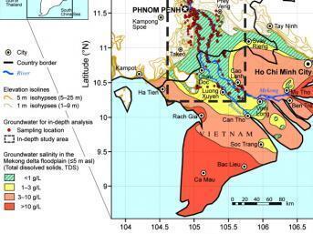 Đập thủy điện trên thượng nguồn khiến phù sa ít về đến đồng bằng Cửu Long, là một nguyên nhân gây sụt lở, nước mặn thâm nhập. Bản đồ các vùng nhiễm mặn tại đồng bằng Cửu Long - Mêkông