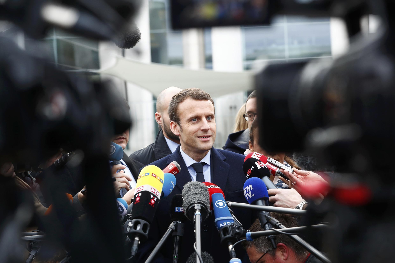 Emmanuel Macron face à la presse, mars 2017.
