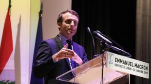Emmanuel Macron lors d'un discours à l'Ecole supérieure des affaires de Beyrouth, le 23 janvier 2017.