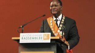 Alassane Ouattara lors de son discours d'investiture à Yamoussoukro, le 21 mai 2011.