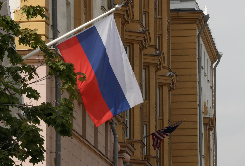 Foto da faixada da embaixada dos Estados Unidos em Moscou em 28 de julho de 2017.