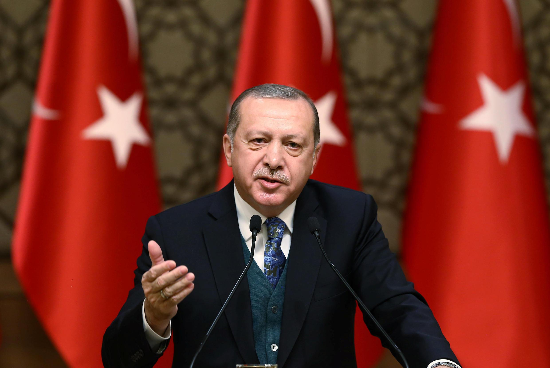سخنرانی رجب طیب اردوغان رئیس جمهوری ترکیه، در مراسمی در آنکارا. پنجشنبه ٣۰ آذر/ ٢١ دسامبر ٢٠۱٧