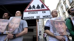 Manifestation de soutien aux otages détenus au Mali, à Nantes, le 1er juin 2013.