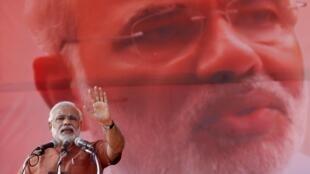 Narendra Modi, chef du BJP vainqueur des élections législatives et probable futur Premier ministre, le 16 mai 2014.