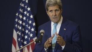 Ngoại trưởng Kerry tại cuộc họp báo ở Sharm el-Seikh ngày 14/03/2015.