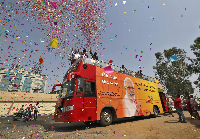 Supporters du BJP de Narendra Modi pendant la campagne électorale.