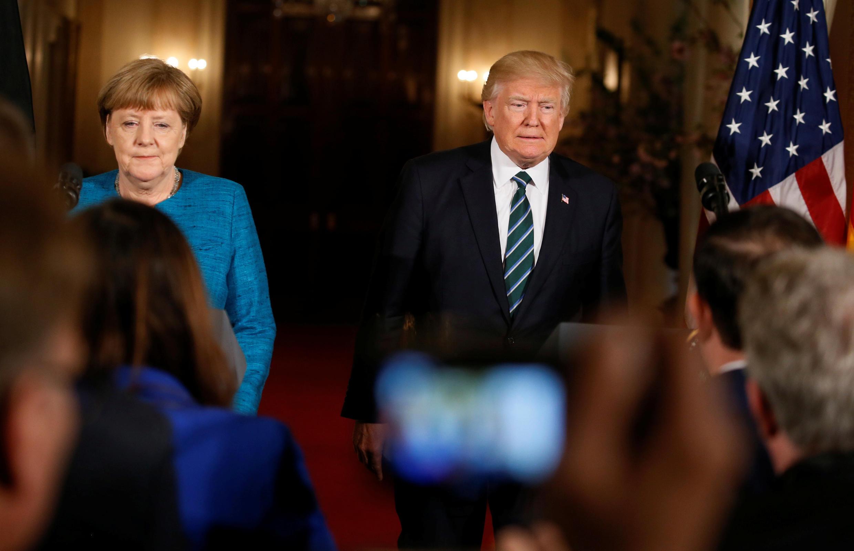 美國總統特朗普與德國總理默克爾2017年3月17日新聞發布會
