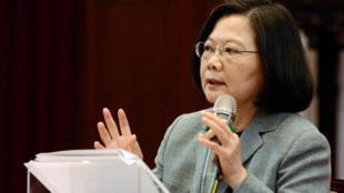 Tổng thống Đài Loan Thái Anh Văn họp báo tại Đài Bắc ngày 05/01/2019, kêu gọi quốc tế hỗ trợ chống âm mưu sát nhập của Trung Quốc.