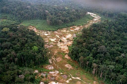 Portion de la forêt tropicale amazonienne, partiellement abattue, sur le site d'une ancienne mine d'or au Brésil.