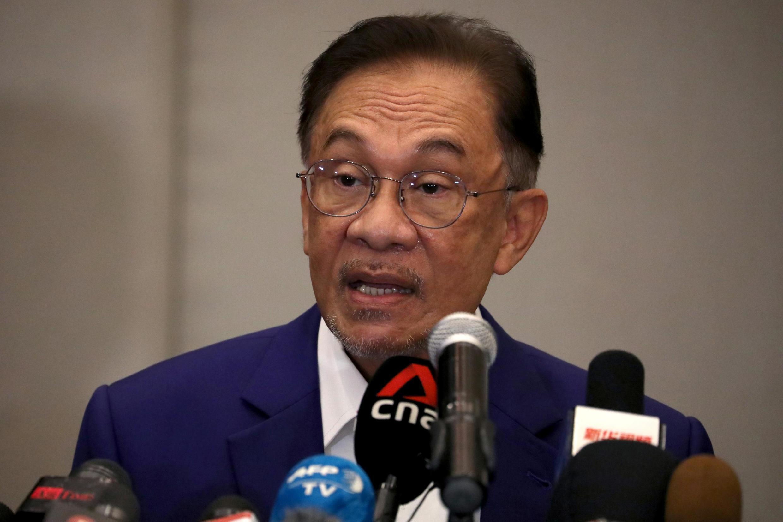 Anwar Ibrahim, lors de sa conférence de presse, le 13 octobre 2020.
