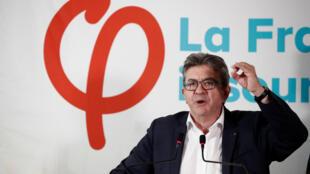 Conférence de presse de Jean-Luc Mélenchon, au siège parisien de La France insoumise, le 19 octobre.