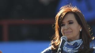 Cristina Kirchner lors d'un rassemblement de soutien à sa candidature aux législatives de 2017, à Buenos Aires, le 20 juin 2017.