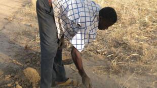 Un paysan préparant le terrain pour la technique « zaï ».