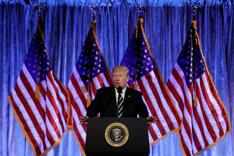 Tổng thống Mỹ Donald Trump phát biểu tại New York, ngày 02/12/2017.