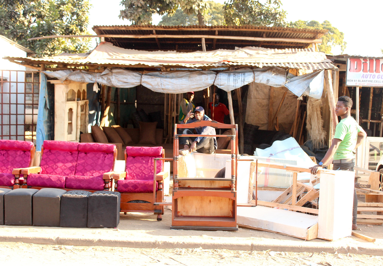Outside Luke Stephano's furniture shop in Blantyre, Malawi