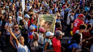 Lors de la marche organisée pour le 1er mai 2017, à La Havane.