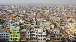 Vue aérienne de New Delhi, en Inde.