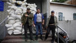 Posto de Dovjanskiï, ocupado pelos separatistas pró-russos na região de Lugansk (leste da Ucrânia).