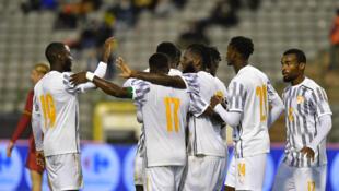 Les Ivoiriens lors d'un match amical en Belgique, en octobre 2020.