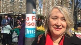 Cristina Semblano, líder do B.E. em França, na manifestação do 1° de Maio, em Paris