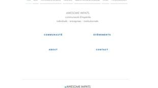 La page d'accueil de Awesome Impacts, un site qui s'adresse à tous les impatriés et aux entrepreneurs qui souhaitent garder une connexion avec la communauté qu'ils ont connue à l'étranger.