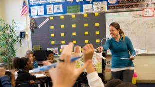 Une classe de 3e année à l'école Robert Goddard d'immersion en français dans le Maryland, aux Etats-Unis.
