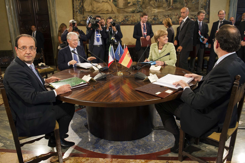 François Hollande, Mario Monti, Angela Merkel and Mariano Rajoy in Rome