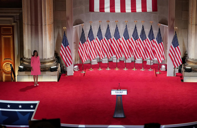 L'ancienne ambassadrice américaine aux Nations Unies Nikki Haley, lors de la convention républicaine au Mellon auditorium de Washington, le 24 août 2020.