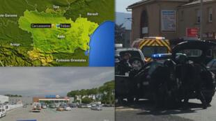 Siêu thị Super U, thành phố Trèbes, Aude, Pháp, nơi xẩy ra vụ bắt con tin ngày 23/03/2018 và cảnh sát tại hiện trường - Ảnh chụp từ màn hình BFMMTV