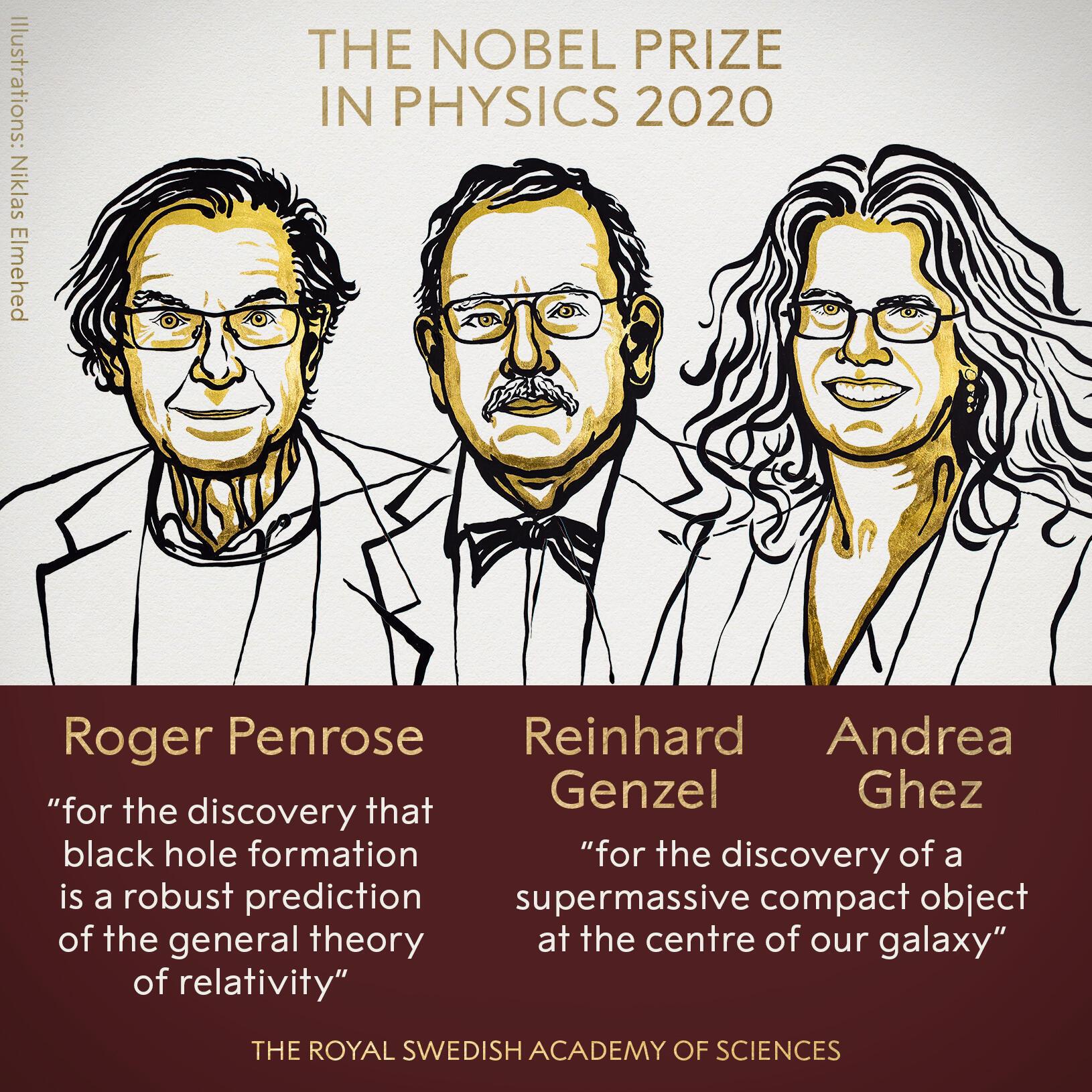 Roger Penrose, Reinhard Genzel y Andrea Ghez, Premio Nobel de Física 2020.