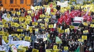 Manifestation au centre de Copenhague pendant le sommet sur le climat, le 12 décembre 2009.