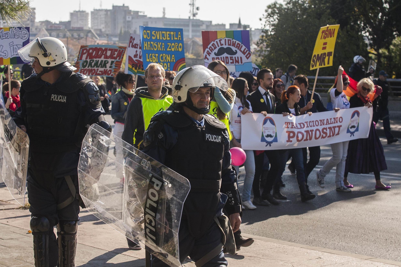 Гей-парад в Подгорице, Черногория, 2 ноября 2014 г.