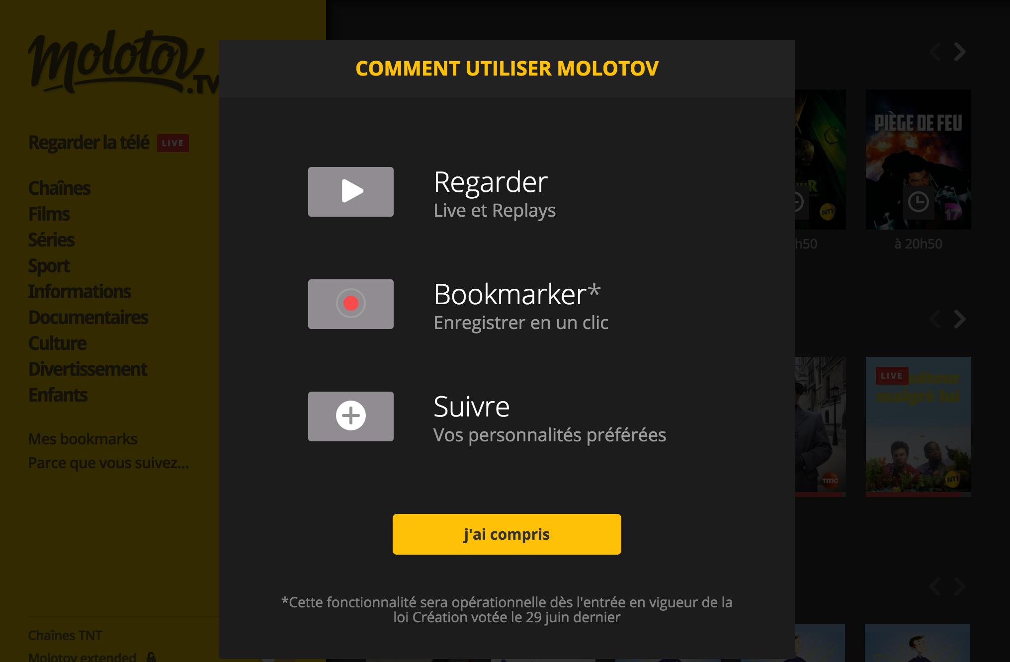 Capture d'écran de l'interface de l'application téléchargée sur Mac.