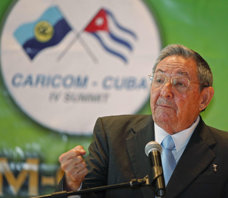 Le président Raul Castro, lors de la cérémonie d'ouverture du sommet Caricom à Trinidad-et-Tobago, le 8 décembre 2011.
