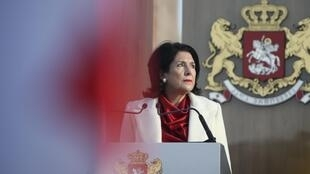Georgia's newly elected President Salome Zurabishvili speaks during an inauguration ceremony in Telavi, Georgia, December 16, 2018.