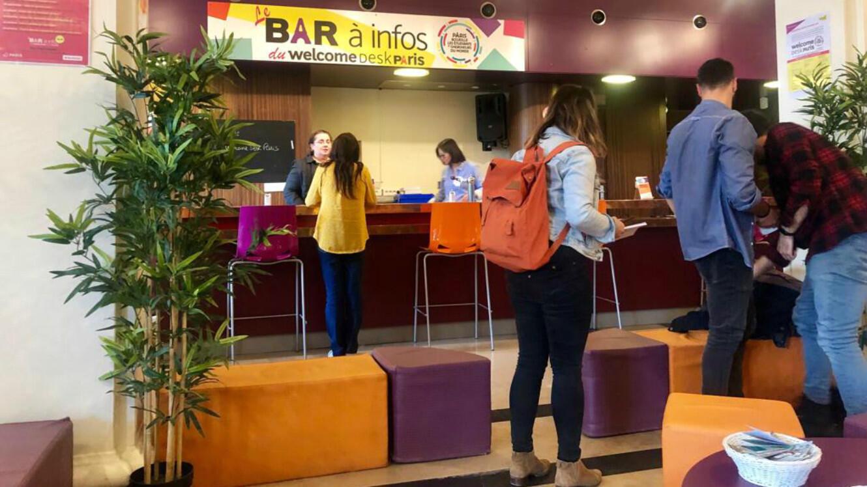 Le bar à infos du Welcome desk de la Cité universitaire internationale de Paris, en septembre 2019.