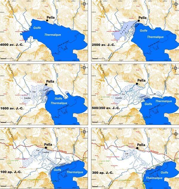 Evolution du littoral de Pella, l'ancienne capitale du royaume d'Alexandre le Grand, en Grèce. Les études géoarchéologiques ont montré que la ville n'était pas située au bord de la mer à l'époque hellénistique.