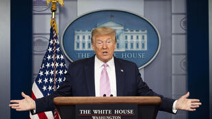 US President Donald Trump speaks during the daily briefing on the novel coronavirus in the Brady Briefing Room at the White House on April 10, 2020