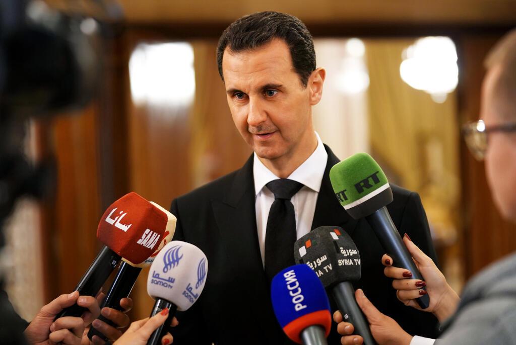 Bachar el-Assad lors d'une conférence de presse à Damas, en Syrie, le 18 décembre 2017.