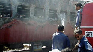 The Sabarmati Express passenger train after the fire in February 2002.
