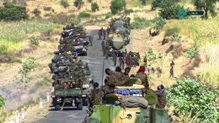 Ethiopian troops on a road leading to the border with Tigray province.